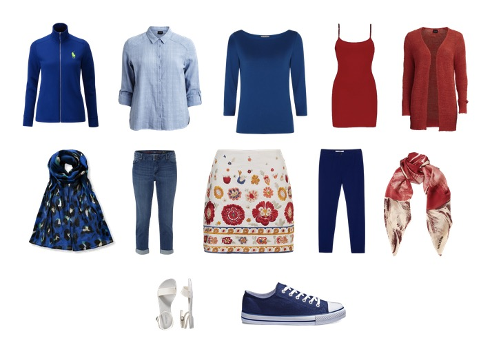 Travel wardrobe in red white and blue
