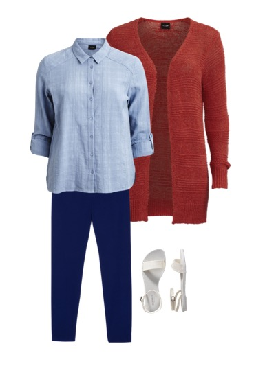 red jacket and blue shirt and blue pants