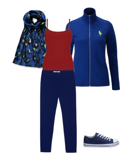 Travel outfit with blue fleece jacket red top and scarf