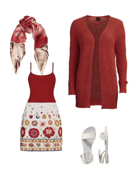red jacket and scarf and skirt with floral pattern
