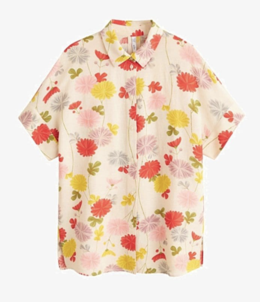 Floral blouse yellow and apricot