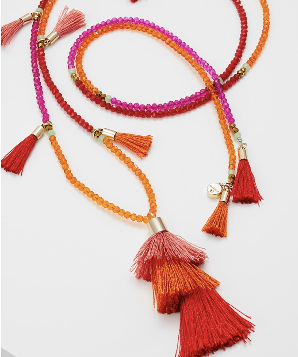 Orange tassel necklace