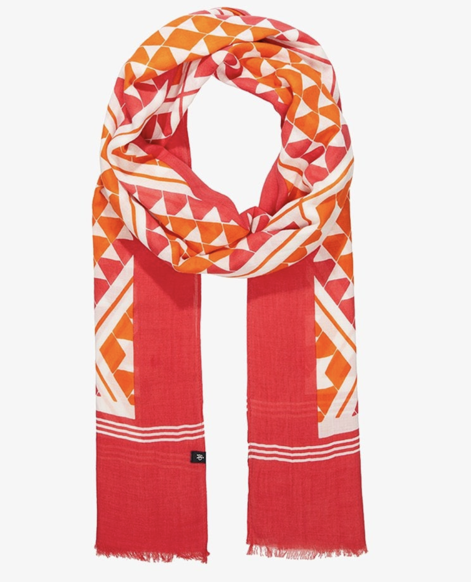 Bright orange and white scarf