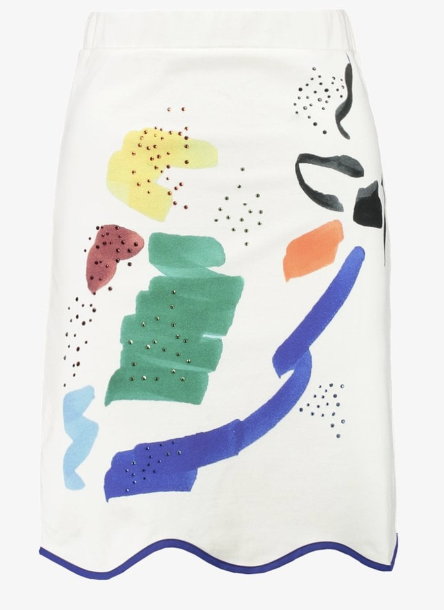 White skirt with abstract pattern