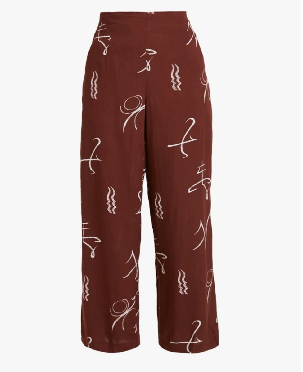 Brown pants with white print pattern