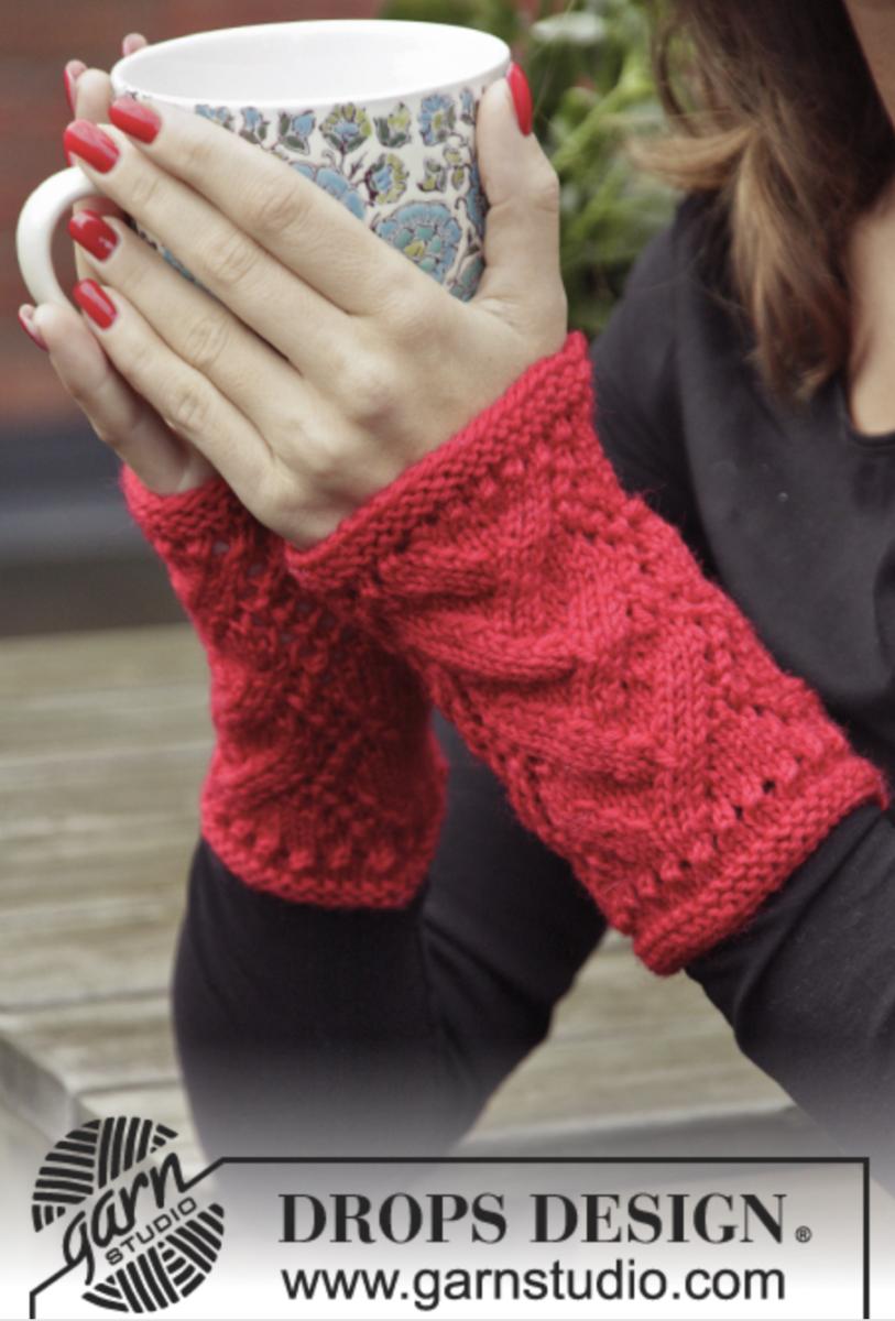 Wrist warmers in  bright marachino cherry red